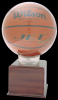 Allstar Basketball Holder With 5 Cherry Finish Base Basketball Display Case