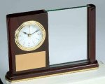 Piano Finish Mahogany Rectangle Clock with Glass Boss Gift Awards