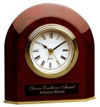 Piano Finish Rosewood Beveled Arch Clock Boss Gift Awards