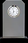 Clipped Corners Clear Glass Clock with Black Base Boss Gift Awards