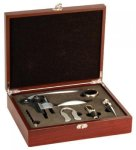 Rosewood Finish 5-Piece Wine Tool Set Boss Gift Awards