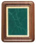 Walnut Plaque with Green Marble Plate Employee Awards