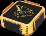 Black Leatherette Square Coaster Set with Gold Edges Employee Awards