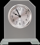 Clipped Corners Clear Glass Clock with Split Step Base Employee Awards