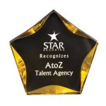 Black/Gold Luminary Star Acrylic Award Employee Awards