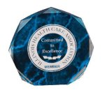 Blue Marble Octagon Acrylic Award Employee Awards