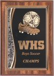 Soccer Walnut Finish Plaque Employee Awards