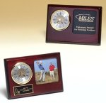 Rosewood Piano Finish Desk Clock with 3 X 3 Photo Area Golf Awards