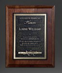 Walnut Panel; Gold Tone Plate Religious Awards