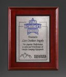 Cherry Finish Panel; Silver Tone Plate Religious Awards