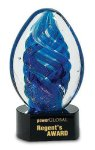 Blue Oval Swirl Art Glass Award Sales Awards